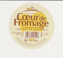 ETIQUETTE DE CAMEMBERT COEUR DE FROMAGE FAB. PAR LCF DUCEY 50 168 - Quesos