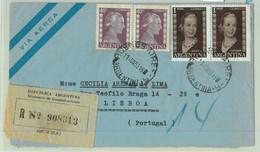 96894 - ARGENTINA - POSTAL HISTORY - REGISTERED COVER To PORTUGAL  1953  Evita - Briefe U. Dokumente