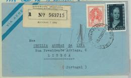 96896 - ARGENTINA - POSTAL HISTORY - REGISTERED COVER To PORTUGAL  1953  Evita - Briefe U. Dokumente