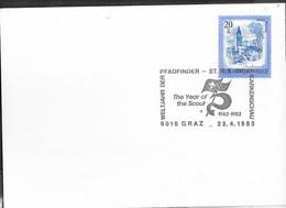 """AUSTRIA - SCOUTISMO -  ANNULLO SPECIALE """" WELTJAHR DER PFADFINDER- THE YEAR OF THE SCOUT *GRAZ 22.4.1983"""" - 1981-90 Cartas"""