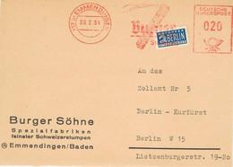 39578. Frontal EMMENDINGEN (Baden) Alemania Federal 1954. NOTOPFER BERLIN Stamp. Tabac, Tabak - Lettres & Documents