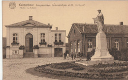 Calmpthout - Jongensschool, Gemeentehuis En H. Hartbeeld - Geanimeerd - Uitg. M. Van Loon, Achterbroek - Kalmthout