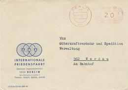3 CARTES ET UNE ENVELOPPE 1964/76 COURSE INTERNATIONALE DE LA PAIX CACHETS DE BERLIN ET DE LEIPZIG - Cyclisme
