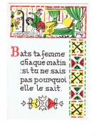 Cpm Illustration Proverbe Lettre Alphabet Homme Frappe Femme Coq Pot De Chambre Lit - Hedendaags (vanaf 1950)
