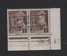Lot 006, Timbre De Guerre N° 404, 1 C Mercure Dunkerque Coudekerque Gomme Sans Charnière, Surcharge De Complaisance - 1938-42 Mercure