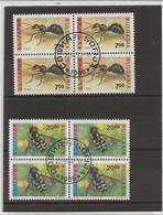 BULGARIE  -SERIE INSECTES - N° 3461-3462 - BLOC DE 4 OBLITERE -ANNEE 1992 - COTE : 28 € - Gebraucht