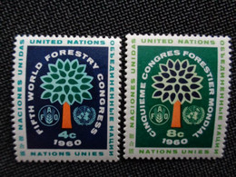 1960 NATIONS UNIES Y&T N° 78 & 79 ** - 5e CONGRES FORESTIER MONDIAL SEATLE - Neufs