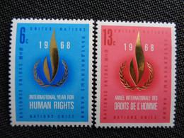 1968 NATIONS UNIES NEW YORK Y&T N° 184 & 185 ** - ANNEE INTERN. DES DROITS DE L'HOMME - Neufs