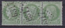 FRANCE - 53  5C VERT CERES BANDE DE 3 CACHET GC 6317 COTE 45 EUR - 1871-1875 Cérès