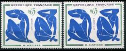 21017 FRANCE N°1320b**(Yvert) 65c. Matisse : Trait Sur Le Sein Et Jambe Verte + Normal (non Fourni)  1961  TB - Variétés: 1960-69 Neufs