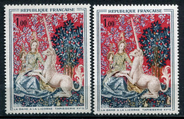 21019 FRANCE N°1425** 1F. La Dame à La Licorne : Robe Sans Le Jaune + Normal (non Fourni)  1964  TB - Variétés: 1960-69 Neufs
