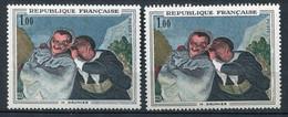 21020 FRANCE N°1494** 1F. Daumier : Bleu Décalé Vers Le Bas + Normal (non Fourni)  1966  TB - Variétés: 1960-69 Neufs