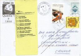 Lettre D'Andorre Adressée Au CANADA (Prince Edward Island) Et Retour, Durant COVID19 Lockdown,avec Vignette Locale - Briefe U. Dokumente