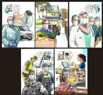 Australia 2021 Covid-19 Coronavirus Frontline Heroes Set Of 5 Maxium Cards - Ziekte