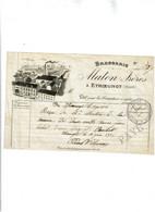 Brasserie MATON Freres A Etroeungt (Canton D'Avesnes Sur Helpe) Facture Avec Cachet 1906 RARE - 1900 – 1949