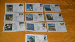 LOT 10 ENVELOPPES FDC DE 2005../ PORTRAITS DE REGIONS LA FRANCE A VOIR...LE PIGEONNIER, LA DUNE DU PILAT, LES FALAISES D - 2000-2009