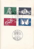 Schweiz Suisse 1948: Zu 281-284 Mi 496-499 Yv 453-456 Auf PTT-Folder Mit O BERN - 100 JAHRE BUNDESSTAAT 14.III.48 - Briefe U. Dokumente