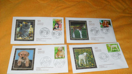 LOT 4 ENVELOPPES FDC DE 2006../ JEUNES ANIMAUX DOMESTIQUES...L'AGNEAU, LE POULAIN, LE CHATON, LE CHIOT...CACHETS PARIS + - 2000-2009