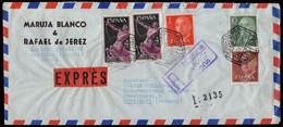 """España - Edi O 1153, 1160, 1163 1186(2) - Carta Certificada Urgente """"Correo Aéreo - Certificado Barcelona 23/5/59"""" - 1951-60 Lettres"""