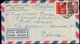 """España - Edi O 1153 + 1160 - Carta De """"Correo Aéreo 8/6/60 - Valencia"""" A Roma - 1951-60 Lettres"""