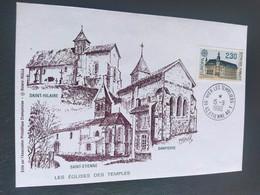 Enveloppe Association Philatélique Champenoise Les églises Des Temples Dessin De Roland Irolla 1990 Timbre N° 2642 - 1990-1999
