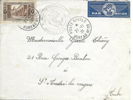 Lettre Marine Nationale En Algérie - Cachet Poste Navale Bureau N° 19 (Oran) - 21 Novembre 1939 - Seepost