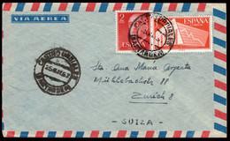 "España - Edi O 1157 + 1198 - Carta De ""Castro Urdiales 25/5/57"" A Zurich - 1951-60 Lettres"