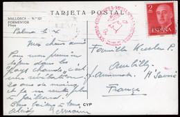 "España - Edi O TP 1157 - Postal Circulada A Francia + Marca Roja !Sociedad Colombófila Mensajera Deportiva"" - 1951-60 Lettres"