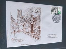 Enveloppe Reims Rue D'Anjou Dessin De  Roland Irolla 1990 Timbre N° 2647 - 1990-1999