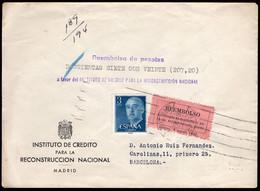 """España - Edi O 1158 - Carta A Barcelona Con Rara Etiqueta """"Reembolso - Instruc 8 Marzo 1945"""" - 1951-60 Lettres"""