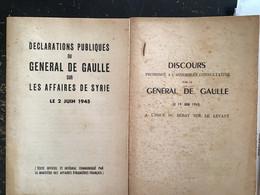 2 LIVRETS DISCOURS GÉNÉRAL DE GAULLE AFFAIRE DU LEVANT  ET SYRIE 1945 - Unclassified
