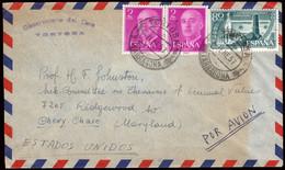 """España - Edi O 1158(2) + 1199 - Mat """"Tortosa 7/1/57"""" A USA - 1951-60 Lettres"""