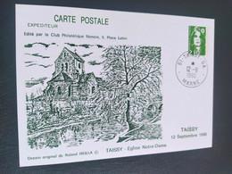Carte Tassy église Notre-Dame Dessin De  Roland Irolla 1990 Timbre N° 2627 - 1990-1999