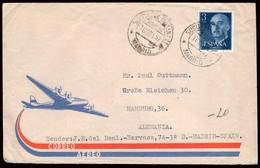 """España - Edi O 1159 - Curioso Sobre Correo Aéreo A Alemania - Mat """"Sucursal Urbana Nº 21 - Correos - Madrid"""" - 1951-60 Lettres"""