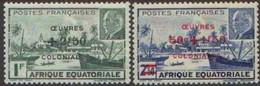 Détail De La Série Maréchal Pétain Surchargés -> Oeuvres Coloniales * A E F N° 195 - 196 - 1944 Maréchal Pétain, Surchargés – Œuvres Coloniales