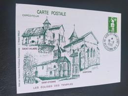 Carte églises Des Temples Saint Etienne Des Temples Dessin De  Roland Irolla 1990 Timbre N° 2627 - 1990-1999