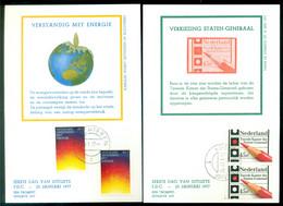 Nederland 25 Januari 1977 Maximumkaarten (2) Energie, Verkiezingen NVPH 1128-1129 - Maximum Cards