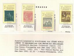 340Y * BARBADOS * 4 FEINE WERTE * 150 JAHRE BRIEFMARKEN * POSTFRISCH **!! - Barbades (1966-...)