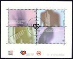 Health - Germany 2001 - Souvenir Sheet Mi. Bl. 54 -  First Day Issue Cancellation Berlin - Heart, Circulatory System, … - Blocs