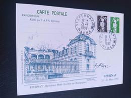 Carte Épernay Signé Dessin De  Roland Irolla 1991 / 2 Timbres N° 2617 / 2627 - 1990-1999