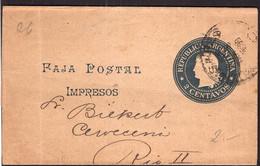 Argentina - 1899 - Faja Postal - Bande Postale - Republica En Medallon - 2 Ctv - A1RR2 - Briefe U. Dokumente