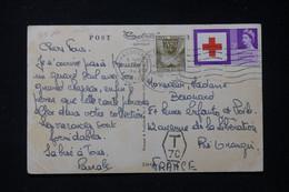 FRANCE - Taxe De Ris Orangis Sur Carte Postale Du Royaume Uni En 1953 - L 90447 - Lettres Taxées
