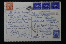 FRANCE - Taxes De Olivet Sur Carte Postale Du Royaume Uni En 1950 - L 90448 - Lettres Taxées