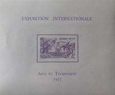 """R2452/228 - 1937 - EXPO INTERNATIONALE """" ARTS Et TECHNIQUES """" De PARIS  - COLONIES FR. - GUYANE - BLOC N°1 NEUF* - Neufs"""