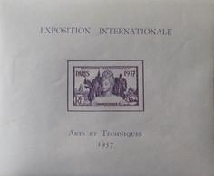 """R2452/230 - 1937 - EXPO INTERNATIONALE """" ARTS Et TECHNIQUES """" De PARIS  - COLONIES FR. - INDOCHINE - BLOC N°1 NEUF* - Ungebraucht"""