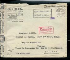 Enveloppe (entière)   Obl. Verviers 24/12/1940 Pour La Suisse Ouverte Par La Censure - Franchise