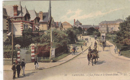 14. CABOURG . CPA COLORISEE. LES VILLAS ET LE GRAND HOTEL. ANIMATION. ANNEE 1905 + TEXTE - Cabourg
