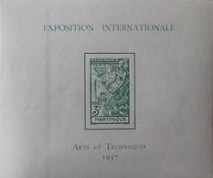 """R2452/234 - 1937 - EXPO INTERNATIONALE """" ARTS Et TECHNIQUES """" De PARIS  - COLONIES FR. - MARTINIQUE - BLOC N°1 NEUF* - Neufs"""