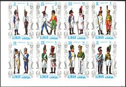 {UA021} UAE Ajman Military Uniforms I Set Of 8 Imperf. MNH** - Ajman