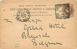 UK.. CP P 18  (Mi)  Oxford.St.B.O./ Southampton > Bruxelles  29/8/90  Sq. C .S/216 1 SC   Trous D'archive - Postmark Collection